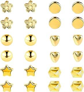 SAVITA 1200pcs Perles D'espacement Assorties avec Trous Formes Multiples Perles Étoiles Perles Rondes Perles de Rocaille p...