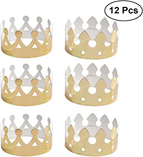 Soochat Gold Paper Crown Hats, Birthday Party Hats,for Kids and Adults Birthday Decorations 12Pcs