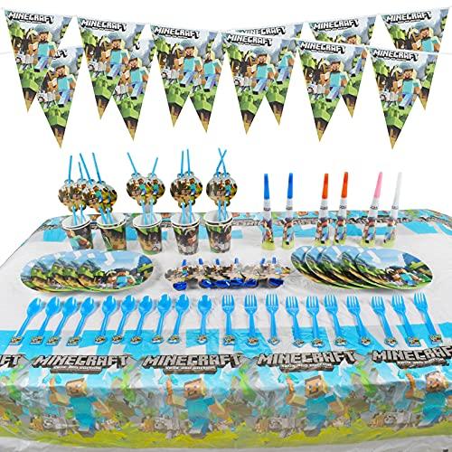 Partyzubehör Geburtstag, 64Stück Party Geschirr Set Geburtstag Geschirr Kit Teller Becher für 10 Kinder Junge Mädchen, Party Zubehör Party Dekorationen Set mit Teller Becher und Untertassen
