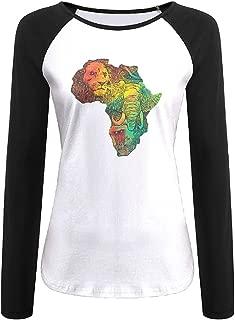 Creamfly Womens Africa II Map Long Sleeve Raglan Baseball Tshirt