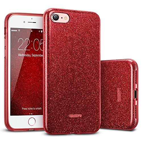 ESR Capa Glitter compatível com iPhone SE 2020, iPhone 8/7, três camadas, compatível com carregamento sem fio, para iPhone SE 2 (2020), iPhone 8/7, vermelho brilhante