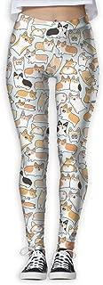 Eplus Women's Corgilicious Corgi Doodle Fitness Power Yoga Pants Full-Length Yoga Workout Leggings