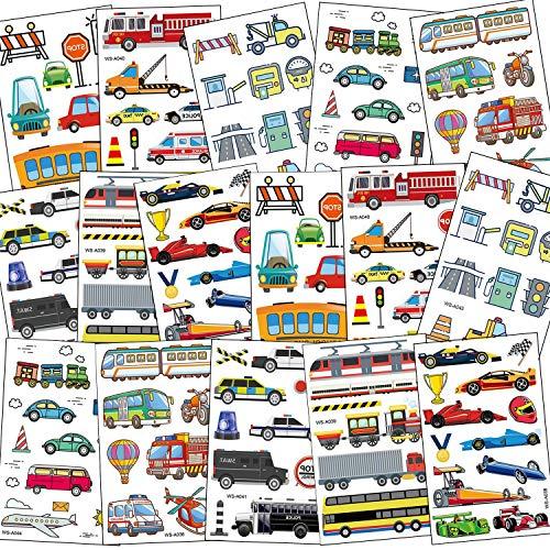 SZSMART Tattoo Kinder, Kindertattoos Fahrzeuge Temporäre Tattoos Set Auto Aufkleber Sticker Kindergeburtstag Gastgeschenke Taschen Füller Party