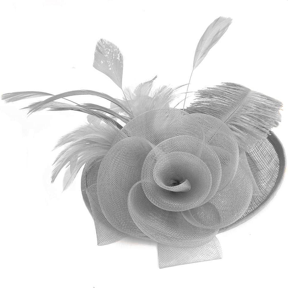 Feather Fascinator Hats for Women 20s 50s Pillbox Hat Cocktail Tea Party Derby Kentucky Wedding Headwear Top