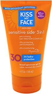 Kiss My Face Sensitive Side 3-in-1 Sunscreen Lotion SPF 30 4 oz (Pack of 2)