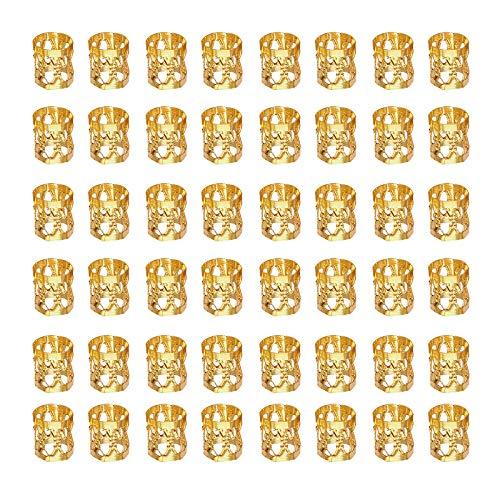 LEBQ 50 Piezas Dreadlocks Beads Anillos de Rastas de Aluminio Ajustables Decoración de Pelo Trenzado (Dorado)