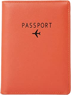 Passport Holder, RFID Blocking Travel Wallet, Document Organizer, Leather, (Black, Orange, Pink)