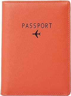 Passport Holder, RFID Blocking Travel Wallet, Document Organizer, High Quality Leather, (Black, Orange, Pink)