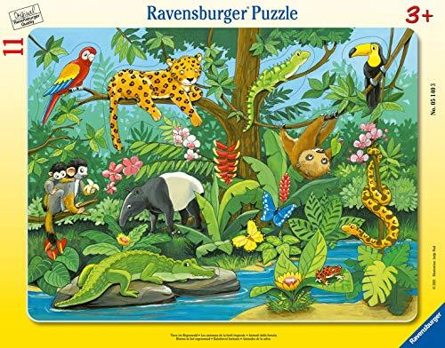 Ravensburger Kinderpuzzle - 05140 Tiere im Regenwald - Rahmenpuzzle für Kinder ab 3 Jahren, mit 11 Teilen