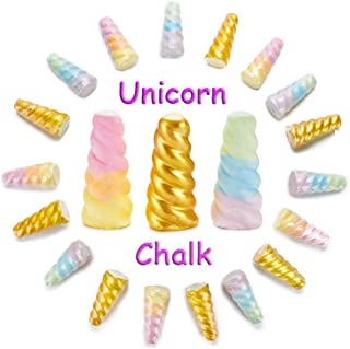 KINIA 18 Rainbow Unicorn Horn Jumbo Sidewalk Chalk ~ Party Favors Goody Bag Pack ~ Birthdays, Easter, Christmas & More ~ Individually Wrapped ~ Washable