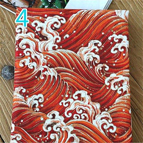 YM YOUMU Japanische Baumwolle Leinen Stoff Eule Ocean Wave Druck Reinigungstuch für Kissen Vorhang und DIY Tasche,100x145cm (Stil 4, Verkauft durch Meter)