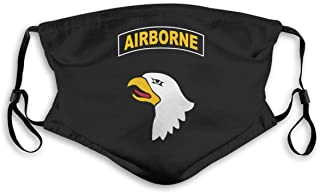 Army 101st Airborne Division Bandanas for Men Face Scarf Neck Gaiter Pm2.5 with Filters M Black