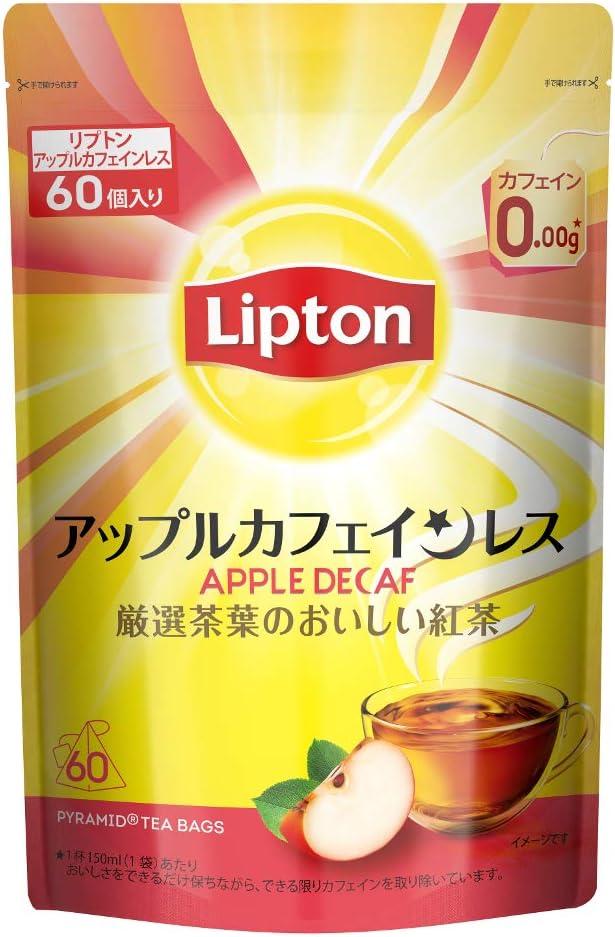 【Amazon.co.jp限定】 リプトン アップルカフェインレスティー 60袋入 デカフェ・ノンカフェイン ティーバッグ