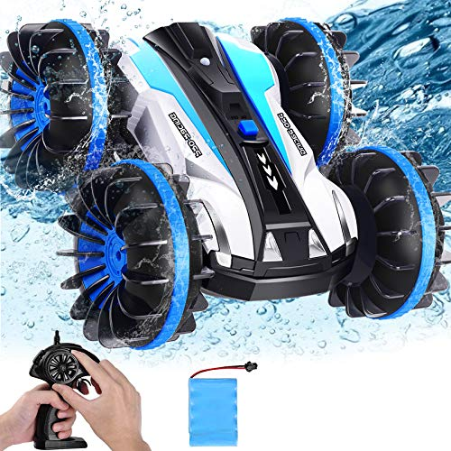 AMENON Car Toys for 6-10 Year Old Boys Amphibious RC Car for Kids, 2.4Ghz Waterproof RC Boat Stunt Car Toys for Kids 360° Rotating 4WD Remote Control Vehicle Toy Boys Gifts Water Beach Pool Toys