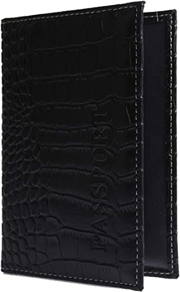 Fafalisa Crocodile Women Passport Cover PU Leather The Cover Of The Passport Holder Travel Cover Case 04 Black