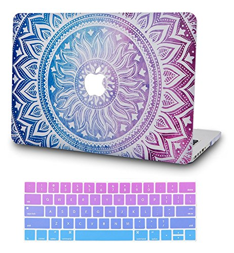 KECC Laptop Case for MacBook Air 13' w/Keyboard Cover Plastic Hard Shell Case A1466/A1369 2 in 1 Bundle (Purple Medallion)