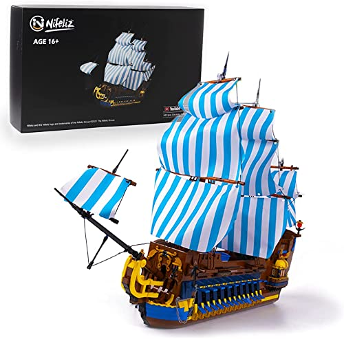 wholesale Nifeliz Bluesail Pirates new arrival Ship Model Building Blocks online Kits - Construction Set to Build, Model Set and Assembly Toy for Teens and Adult,New 2021 (3265Pcs) online
