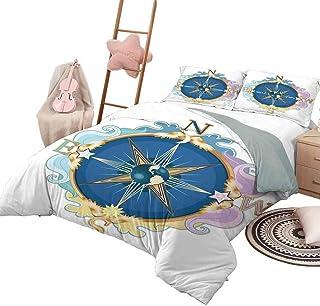 Funda nórdica Compass Luxe Bedding Juego de colcha acolchada de 3 piezas con brújula estilizada Orientación del tema de navegación que muestra el norte, el sudeste, el oeste, tamaño completo, rosa, az
