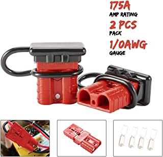 BUNKER INDUST 175A 1/0AWG Battery Quick Connect Wire Harness Plug Kit Battery Cable Quick Connect Disconnect Plug for Winch Auto Car Trailer Driver Electrical Devices,2 Pcs,Red