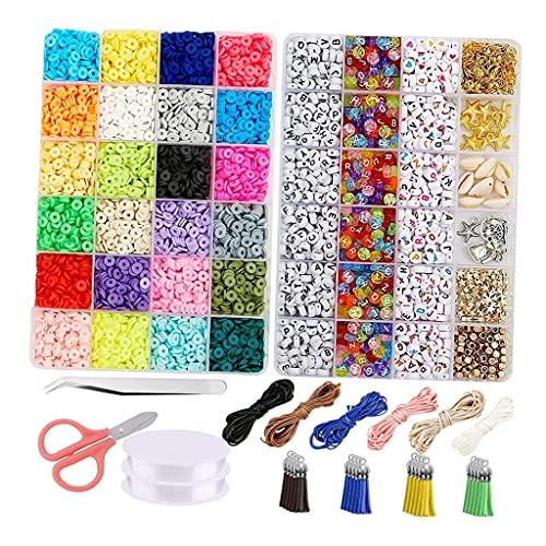 Sharplace Accesorios de joyería DIY de 6mm, cuentas de cerámica suave de 6mm, cuentas de letras multicolor, joyería que hace conchas étnicas para hacer