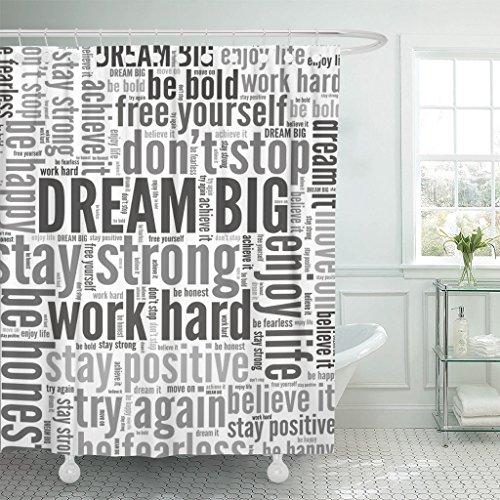 Emvency Duschvorhang Inspirational Dream Big Positive Words Again Wasserdichtes Polyester Stoff Set mit Haken, Polyester-Mischgewebe, violett, 72