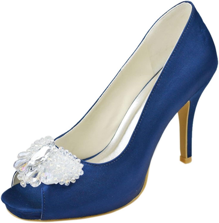 Minishion Womens Stiletto Heel Open Toe Satin Evening Party Bridal Wedding Sparkle shoes