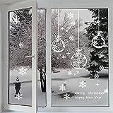 Profer Fensterbilder statisch haftende PVC-Sticker Schneeflocken Tannenbaum Hirsch Weihnachten Fenstertattoo Wandtattoo Schneeflocken - wiederverwendbar (Weiß)