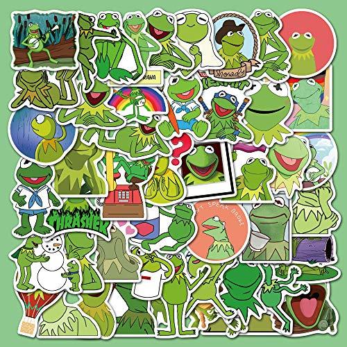 WWJIE Divertido Kermit Frog Komi Frog expresión Divertida DIY Funda para teléfono móvil Ordenador iPad Pegatinas Impermeables 50 Hojas