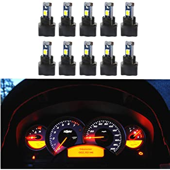 WLJH 10 Pack White Canbus T5 Led Bulb 2721 37 74 Wedge Lamp PC74 Twist Sockets Dash Dashboard Lights Instrument Panel Cluster Leds Car Replacement