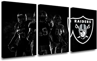 American Football Picture Oakland Raiders Painting for Living Room 3 Panels Black Canvas Wall Art Home Modern Decor HD Prints Partriotic Artwork Giclee Framed Stretched Ready to Hang(42''W x 20''H)