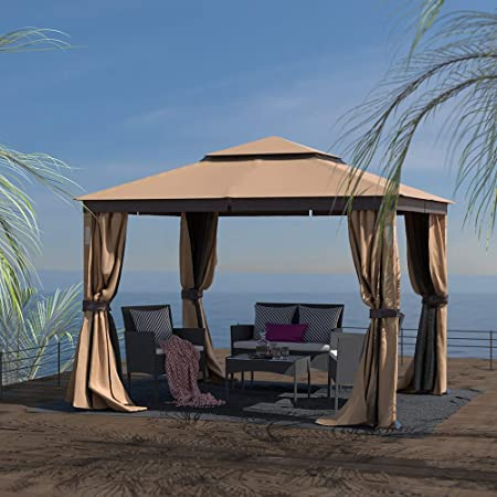 Finefind 10x12 Gazebo Canopy Soft Top Outdoor Gazebo Tent 2 Tier Curtain Double Roof Vented Gazebo With Mosquito Netting Led Lights And Bluetooth Speakers Garden Outdoor