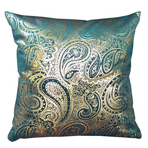 ZUODU 1 Piece Gold Stamping Green Velvet Decorative Cushion Cover Velvet Square Cushion Cover 18x18 Inch 45x45cm