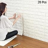 20 Pcs Stickers Muraux 3d Brique, YTAT Papier Peint Briques 3d, DIY Auto-Adhésif Autocollants la Maison Chambre, Salon, Cuisine,...