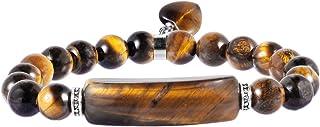 rockcloud Healing Love Heart Stone Bracelet Dangle Energy Crystal Charm Stretch Beaded Bracelet Handmade Jewelry for Men a...