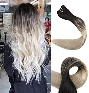 Fshine Brazilian Hair Weft Real Remy Human Hair Extensions Color #1B Off Black Fading to #613 Blonde Soft Hair Popular Remy Hair 100g Per Set 18 inch Remy Human Hair Extensions Bundles