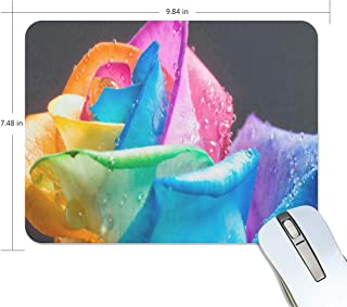 Mouse Pad Rainbow Roses and Water Drops Gaming Mousepad Computer Small Thick Mouse Mat Black Inspiring Mouse Pads