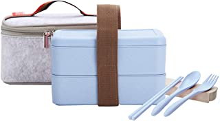 ArderLive Japanese Bento Box, Stackable Wheat Straw Portable Leakproof Lunch Box with Lunch Bag & Portable Utensil, Eco-Friendly Food Storage Container .(Blue)