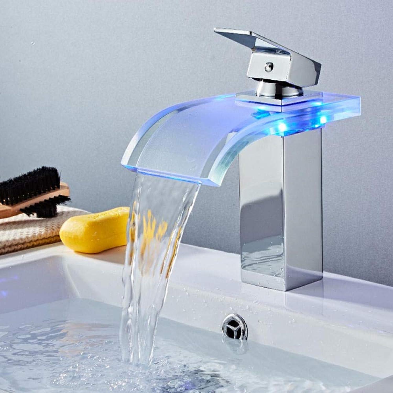 Syhua LED Becken Wasserhahn Messing Wasserfall Temperatur Farben ndern Bad Mischbatterie Deck montiert Waschbecken Glas Wasserhhne heien und kalten Hahn