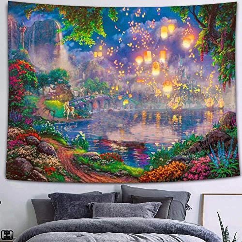 KHKJ Nuevo Mushroom Forest Castle Tapiz Cuento de Hadas Trippy Colorful Butterfly Tapiz para Colgar en la Pared para el hogar Dormitorio Decoración de fantasía A27 200x150cm