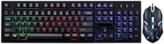 ZHHk Gaming Keyboard & Mouse Combo,Rainbow Mechanical Computer Wired USB Game Suspension Manipulator Set keyboard (Color :...