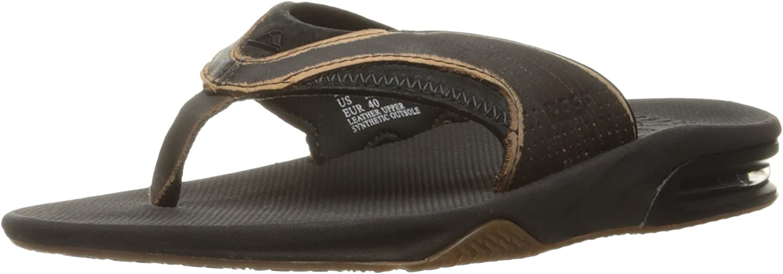Reef Men's Leather Fanning Lux Flip Flops