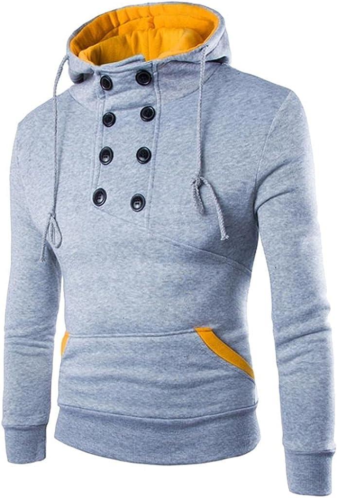 Hoodies for Men Autumn Long Sleeve Patchwork Hoodie Hooded Sweatshirt Top Tee Outwear Blouse Fashion Hoodies and Sweatshirts