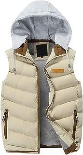 Autumn Winter Men's Detachable Hooded Thick Vest Outwear Large Size Cotton-Padded Gilet Coat