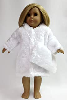 Doll Clothes Fits American Girl Doll and Other 18 Inch Dolls White Fur Coat and Matching Muff Doll Accessories