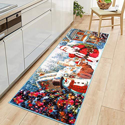 Goffee Christmas Area Rugs Santa Claus Indoor Rug for Xmas Holiday Decoration, Non-Slip Snowman Door Mat Christmas Welcome Carpet for Bedroom Living Room Kitchen Fireplace, 2ft x 6ft