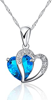 925 Silver Necklace Adjustable Chain and Blue Crystal Heart Pendant – Handmade with Sparkling double Heart Silver and Crystal-like Pendant in various stunning colors. Designed in England.