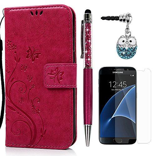 S7 Hülle Hülle KASOS Leder Handyhülle Brieftasche Tasche Magnetverschluss Ledertasche Cover,Blume-Schmetterling Rose rot + Stöpsel + Stylus + Schutzfolie für Samsung Galaxy S7