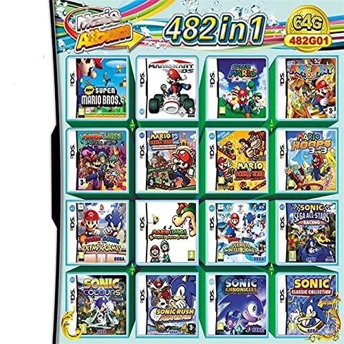 JPEEFER Cartucho de Juego para Nintendo DS 482 en 1 Juego Dakota del Norte S Game Card DS Game Game Compatible Super Group NDS DS 2D S Nuevo 3DS XL Nintendo 3DS Games Nintendo DS