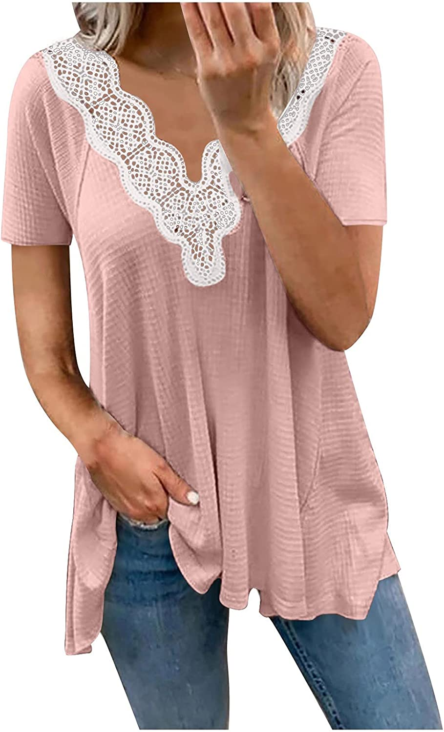 Women's Casual Solid Waffle Top V Neck Short Sleeve Lace Blouse T Shirts