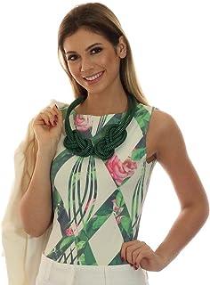 1a036e7552 Regata Feminina Estampa Geométrica Exclusiva Verde com Flores Decote Canoa